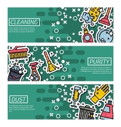 Set of Horizontal Banners about cleaning vector image