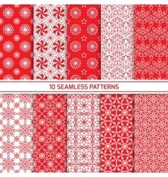 Set of monochrome geometric seamless patterns vector image vector image