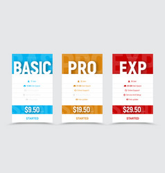 template of price tables for the basic vector image
