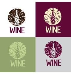 wine bootle in wooden log vector image