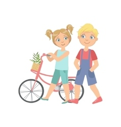 Boy And Girl Walking With The Bicycle Together vector image vector image
