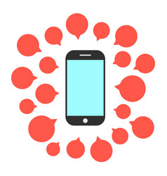 smart phone with set of speech bubbles vector image