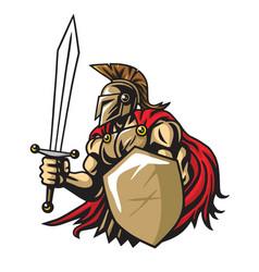 spartan warrior mascot vector image
