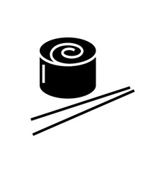 sushi roll icon black sign vector image vector image