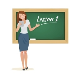 woman teacher stands at the blackboard vector image vector image