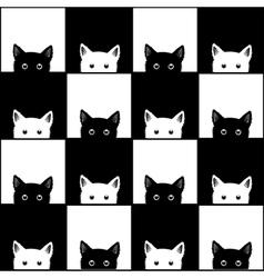 Black white cat chess board background vector