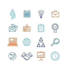 Business Outline Colorful Icons Set vector image vector image