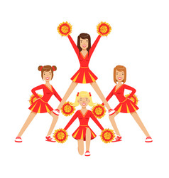 cheerleader girls with pompoms dancing to support vector image