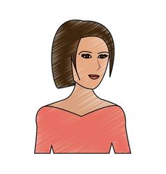 color pencil cartoon half body woman with straight vector image