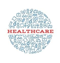 Healthcare blue symbols arranged into a pill vector image vector image