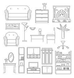 Interior Icons Line Set vector image