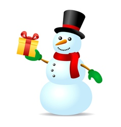 Snowman with present box vector image vector image
