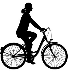 young woman riding bicycle silhouette vector image