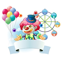 A clown with a signage and a ferris wheel and vector
