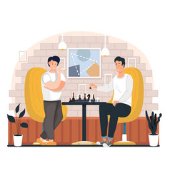 A group people is playing chess at home young vector