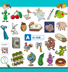 A is for educational task for kids vector