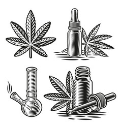 a set black and white for cannabis vector image