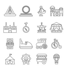 Amusement park icons set outline style vector