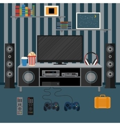 apartment with a home cinema vector image