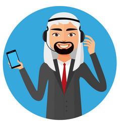 Arab operator saudi man with headset customer vector