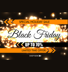black friday glow sparkling web banner black text vector image
