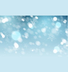 Blurred winter background with snowflakes vector