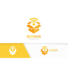 Box and wifi logo combination package vector