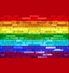 Brick wall with painted flag lgbt vector