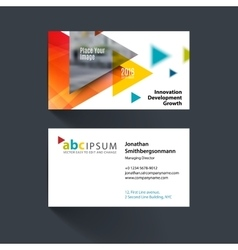 Business card template with flying vector