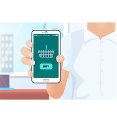 buy online shopping with help of phone vector image
