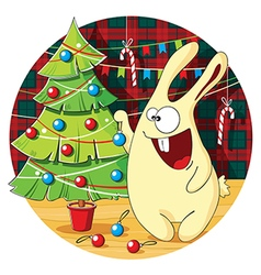 Cartoon bunny decorates Christmas tree vector