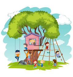 children play at tree house vector image
