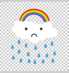 color sad rainbow with rain vector image