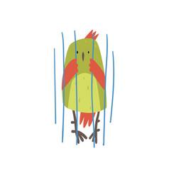 Cute bird in cage funny birdie cartoon character vector