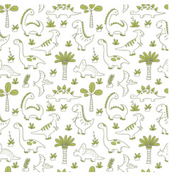 Cute dinosaurs dino seamless pattern in doodle vector