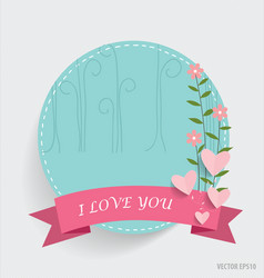 Cute note paper with ribbon heart and floral vector image