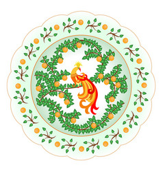 Decorative porcelain plate ornate with a colorful vector