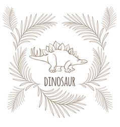 Dinosaur with sharp thorns on back and palm vector