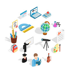 education icons set isometric 3d style vector image
