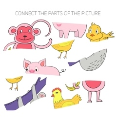 Educational game for children connect the parts vector image