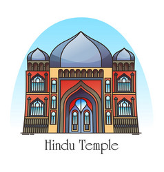exterior view hindu temple in thin line vector image