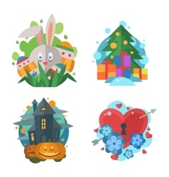 flat holidays icons in retro style vector image