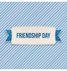 Friendship Day Tag with Ribbon and Shadow vector image
