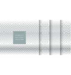 geometric seamless silver pattern background vector image