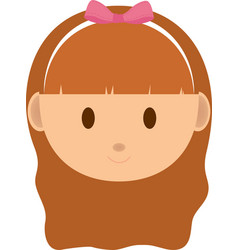 Girl kid head cartoon icon vector