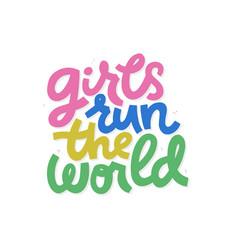 Girls run world cartoon lettering vector