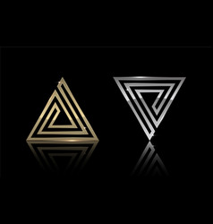 Gold and silver triangle 11 vector