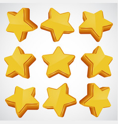 Golden star different angles vector