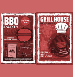 grill house barbecue meat party retro poster vector image