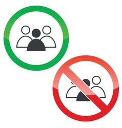 Group leader permission signs set vector